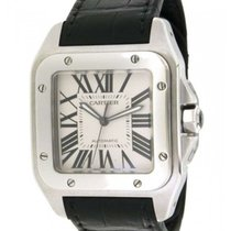 Cartier Santos 100 Xl W20073x8 2656 In Steel And Leather