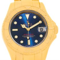Rolex Yachtmaster Midsize 18k Yellow Gold Blue Dial Watch 68628