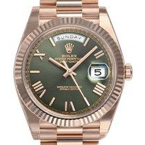 Rolex Day-date President 40mm 228235 Mens Everose Gold Green...
