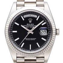 Rolex Day-Date 40 18 kt Weißgold 228239 Schwarz