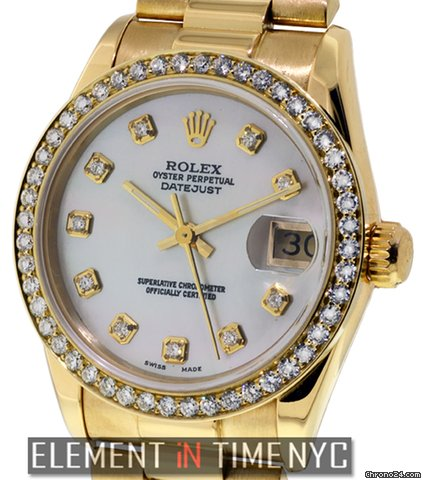 Rolex Datejust Midsize President Diamonds 18k Yellow Gold