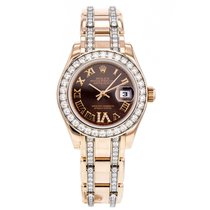 Rolex Datejust Pearlmaster 80285br Diamond 18k Rose Gold Watch...