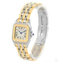 Cartier Panthere Ladies Steel 18k Yellow Gold 3 Row Watch...