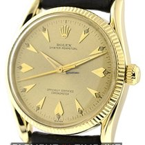 Rolex Oyster Perpetual Bombe Arrow Head 14K Yellow Gold