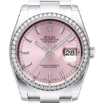 Rolex Datejust 36 Weißgold Diamant Lünette 116244 Pink Oyster-B