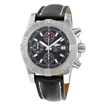 Breitling Avenger II Automatic Black Dial Black Leather...