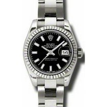 Rolex Lady-Datejust 26 179179-BLKSFO Black Index Fluted White...