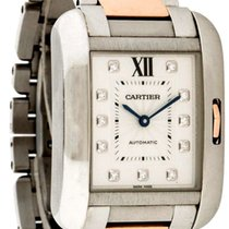 Cartier Tank Anglaise Silver Diamonds Dial 18ktRG Women Watch...