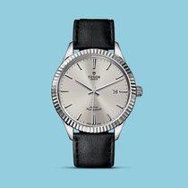 Tudor Style 41mm, geriffelte Lünette, Lederband, Silber -NEU-