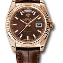 Rolex Day-Date President Pink Gold - Fluted Bezel - Leather