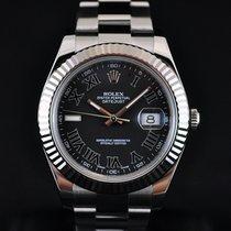 Rolex Datejust II 41MM 18K White Gold Bezel Black Roman Dial