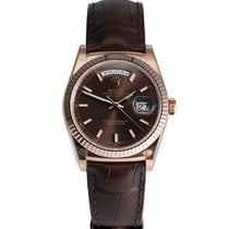 Rolex DAY-DATE 36mm Rose Gold Watch on Leather Strap