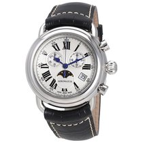 Aerowatch 1942 Silver Dial Men's Chronograph Leather Watch