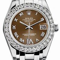 Rolex Pearlmaster 34 81299 Bronze Roman Diamond Bezel VI set...