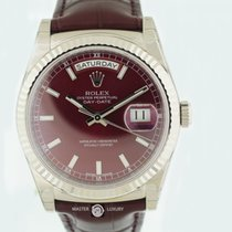 Rolex 118139 DayDate 36 White Gold Cherry Dial Leather Strap