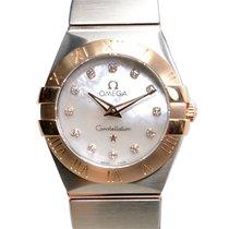Omega Constellation 18k Rose Gold And Steel White Quartz...
