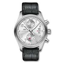 IWC Pilot Spitfire Chronograph IW387809 Silver Black Alligator...