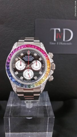 rolex rainbow daytona cosmograph 18k white gold for price on request for sale from a seller on. Black Bedroom Furniture Sets. Home Design Ideas
