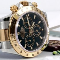 Rolex Mens 18K/SS Daytona - Black Dial - 116523