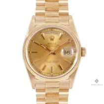 Rolex Day-Date Yellow Gold Champagne Stick Dial Bark Bezel...