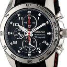 精工 (Seiko) Sportura 42mm Mens Alarm Chrono Steel Watch Leather...