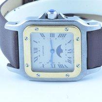 Cartier Santos Herren Uhr Quartz Galbee Mit Mondphase +...