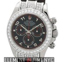 Rolex Daytona 18k White Gold With Diamonds Rubber B Strap Ref....