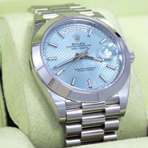 Rolex Platinum Day-date 228206 40mm Ice Blue Diagonal Motif...