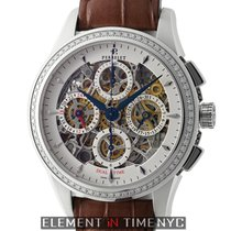 Perrelet Skeleton Dual Time Chronograph Diamond Bezel Steel...