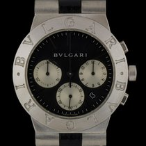 Bulgari 18k White Gold Diagono Chronograph Gents Wristwatch...