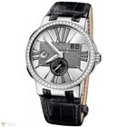 Ulysse Nardin Executive Dual Time Silver Diamonds Bezel...