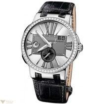 Ulysse Nardin Executive Dual Time Silver Diamonds Bezel...