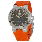 Oris Aquis Date Grey Dial Orange Rubber Men's Watch