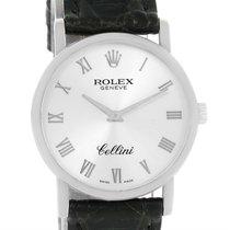 Rolex Cellini Classic 18k White Gold Silver Dial Black Strap...