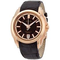 Bulova Men's 97b110 Precisionist Rose-tone Brown Leather...