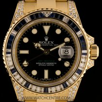 Rolex 18k Y/G Diamond & Sapphire Set GMT-Master II B&P...