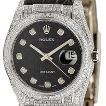Rolex DateJust White Gold Diamond Set Watch Leather Strap 36mm...