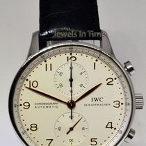 IWC 3714 Portuguese Chronograph Steel Watch Deployant Buckle...