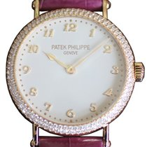 Patek Philippe Ladies Calatrava 34.6mm Silver Satin Arabic...
