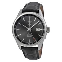 TAG Heuer Carrera Twin Time Anthracite Dial Grey Alligator...
