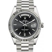 Rolex Day-Date 40 228239-BLKSP Black Index Fluted White Gold...