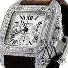 Cartier Santos 100 Xl Chronograph 17ct On Brown Alligator Strap