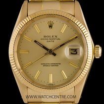Rolex 18k Yellow Gold Oyster Perpetual Champagne Dial Date...