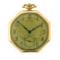Waltham 14k Yellow Gold Pocket Watch Octogan Shaped Case...