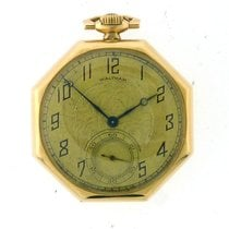 Waltham 14k Yellow Gold Pocket Watch Octogan Shaped Case...