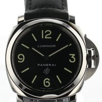 Panerai Luminor Base Logo Acciaio 44mm Black Leather Watch...