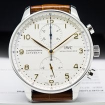 IWC IW371445 Portuguese Chronograph SS Silver Dial / Gold...