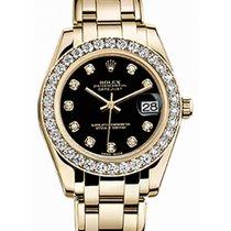 Rolex Pearlmaster 34 81298 Black Diamond Bezel Yellow Gold