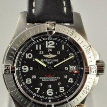 Breitling Aeromarine Colt Quartz Black Leather Strap A7438010/...