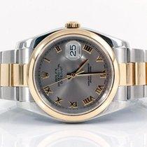 Rolex Mens 18k/SS 116203 Datejust - Slate Roman Numeral Dial